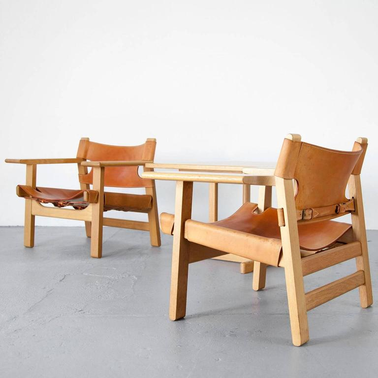 børge mogensen set of two spanish chairs and matching coffee table