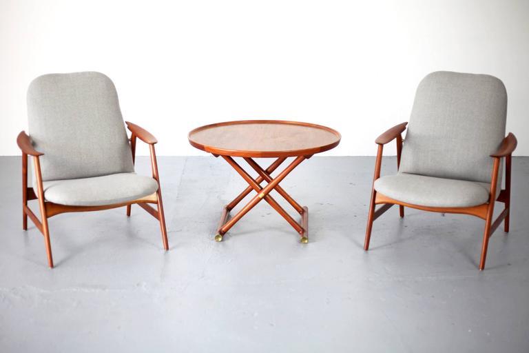 Two Mid-Century Modern Teak Easy Chairs 10