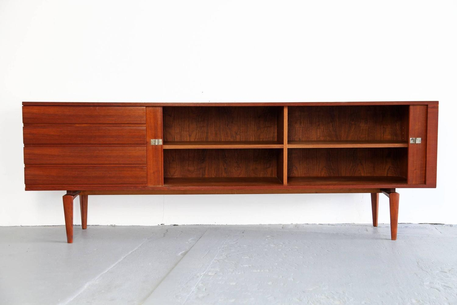 teak sideboard with tambour doors by h w klein produced. Black Bedroom Furniture Sets. Home Design Ideas