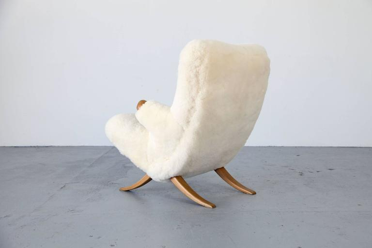 Organic Design Lounge Chair with Sheepskin, 1950s For Sale 2