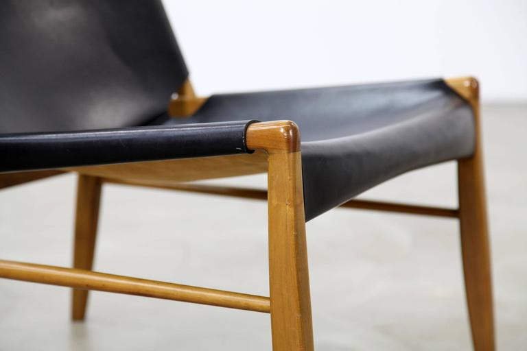 20th Century Franz Xaver Lutz Oak and Leather 'Chimney' Chair for WK Verband, 1958 For Sale