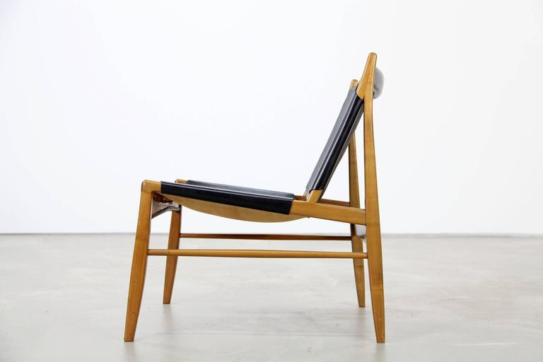 Franz Xaver Lutz Oak and Leather 'Chimney' Chair for WK Verband, 1958 For Sale 1