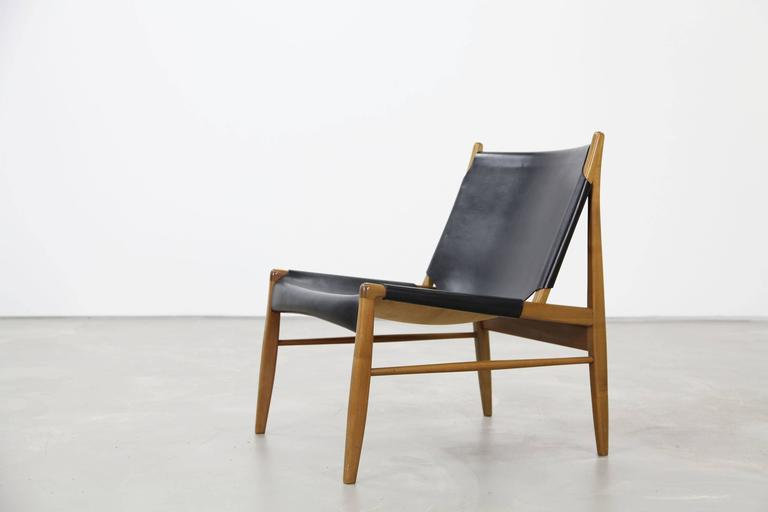Franz Xaver Lutz Oak and Leather 'Chimney' Chair for WK Verband, 1958 For Sale 2