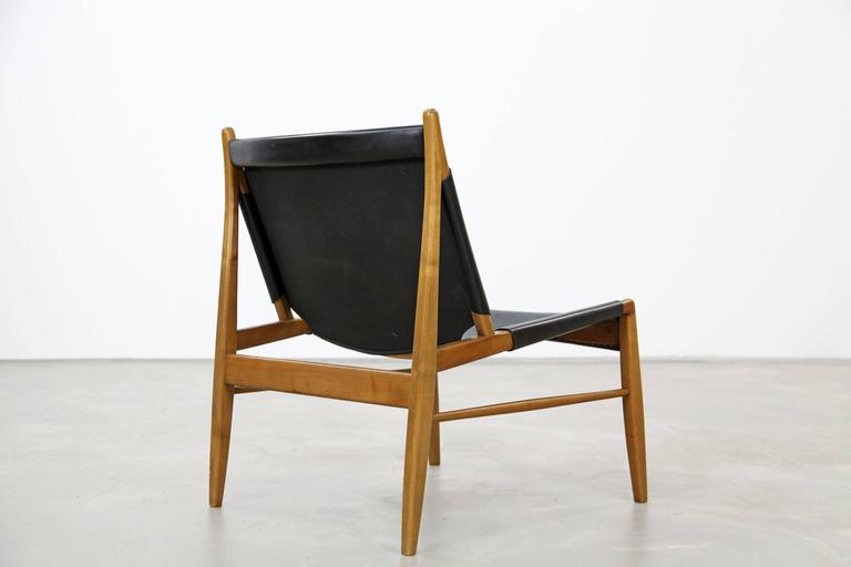 Franz Xaver Lutz Oak and Leather 'Chimney' Chair for WK Verband, 1958 In Excellent Condition For Sale In Munster, DE