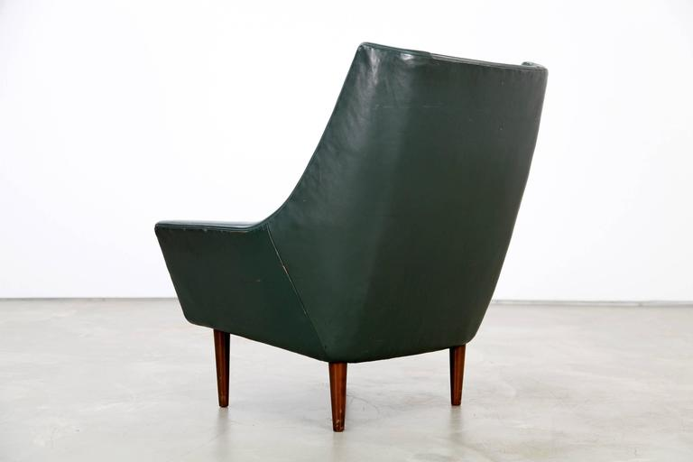 Two Danish Lounge Chairs Hans Olsen Attributed with Dark-Green Original Leather For Sale 1