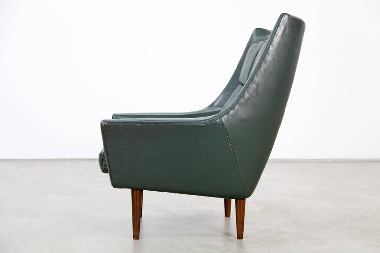 20th Century Two Danish Lounge Chairs Hans Olsen Attributed with Dark-Green Original Leather For Sale