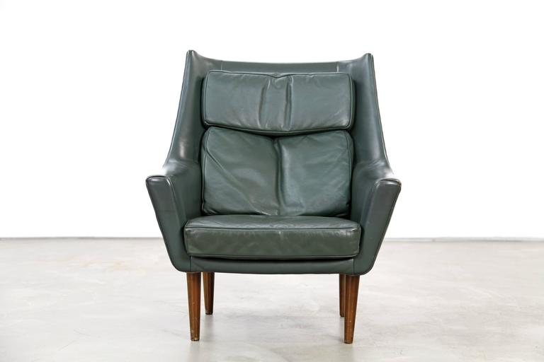 Scandinavian Modern Two Danish Lounge Chairs Hans Olsen Attributed with Dark-Green Original Leather For Sale
