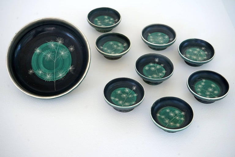 French Set of Handmade Ceramic Bowls by Tapis Vert in Vallauris, 1950s For Sale