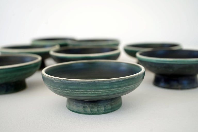Hand-Crafted Set of Handmade Ceramic Bowls by Tapis Vert in Vallauris, 1950s For Sale
