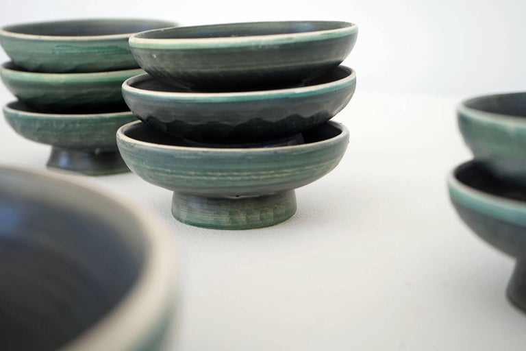 Set of Handmade Ceramic Bowls by Tapis Vert in Vallauris, 1950s In Excellent Condition For Sale In Munster, NRW