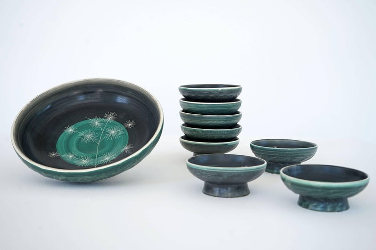 Mid-20th Century Set of Handmade Ceramic Bowls by Tapis Vert in Vallauris, 1950s For Sale