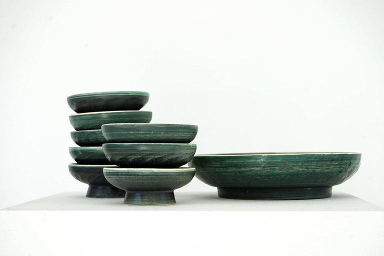 Set of Handmade Ceramic Bowls by Tapis Vert in Vallauris, 1950s For Sale 1