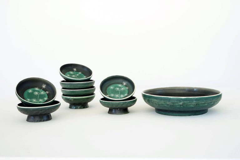 Set of Handmade Ceramic Bowls by Tapis Vert in Vallauris, 1950s For Sale 2