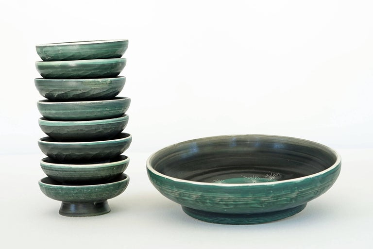 Set of Handmade Ceramic Bowls by Tapis Vert in Vallauris, 1950s For Sale 4