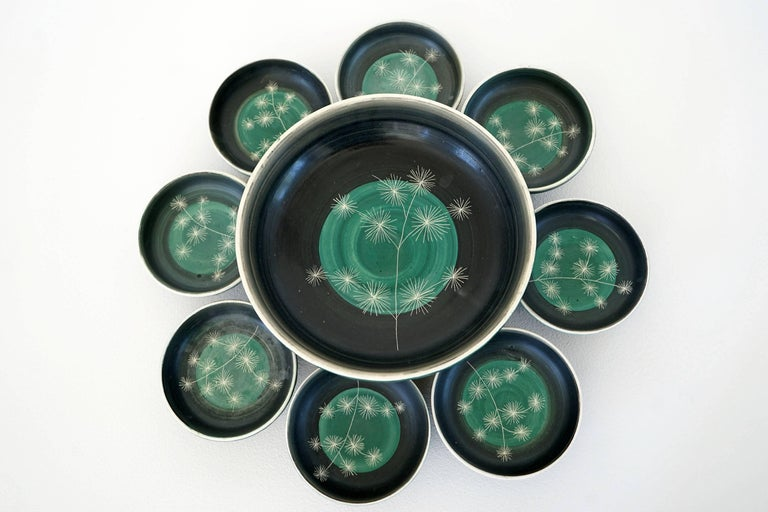 Mid-Century Modern Set of Handmade Ceramic Bowls by Tapis Vert in Vallauris, 1950s For Sale