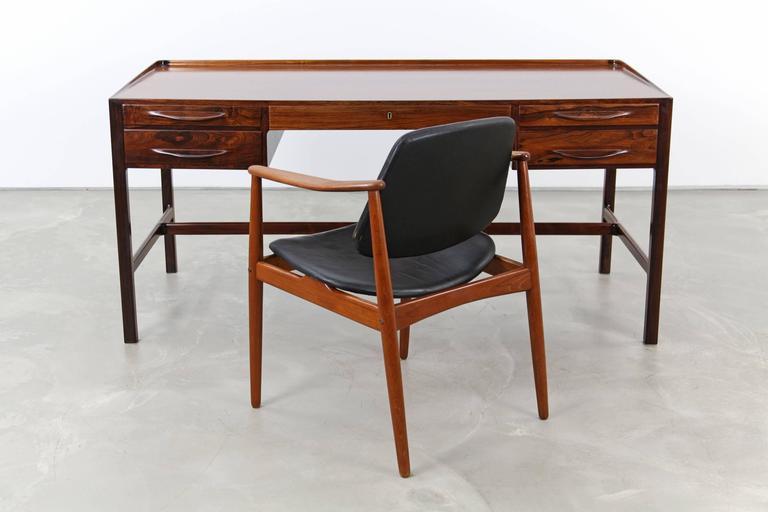 Danish Rare Rosewood Desk by Kurt Østervig for Jason Møbler, 1957 For Sale