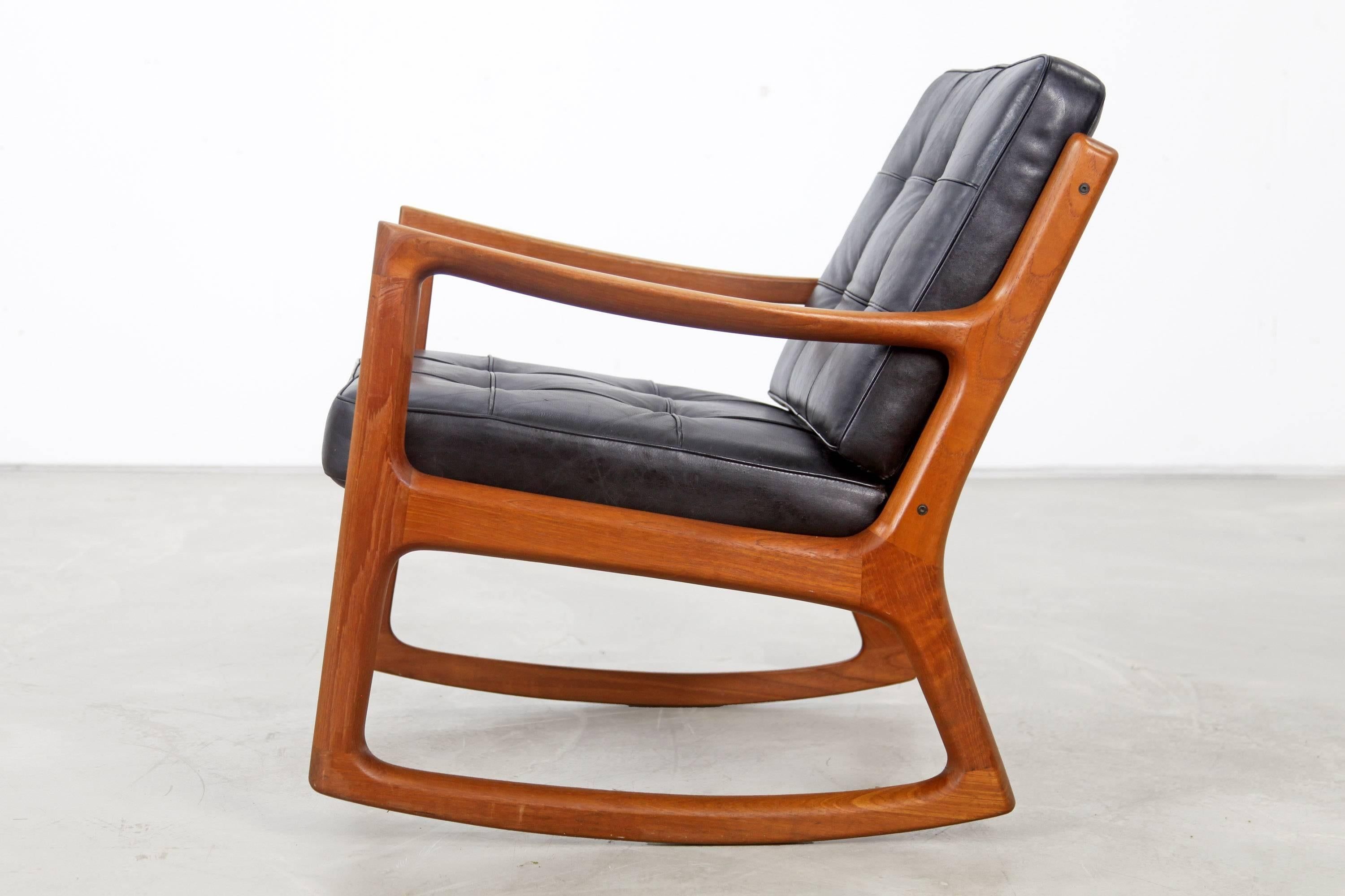 Teak Rocking Chair With Leather By Ole Wanscher Produced France And Søn At 1stdibs