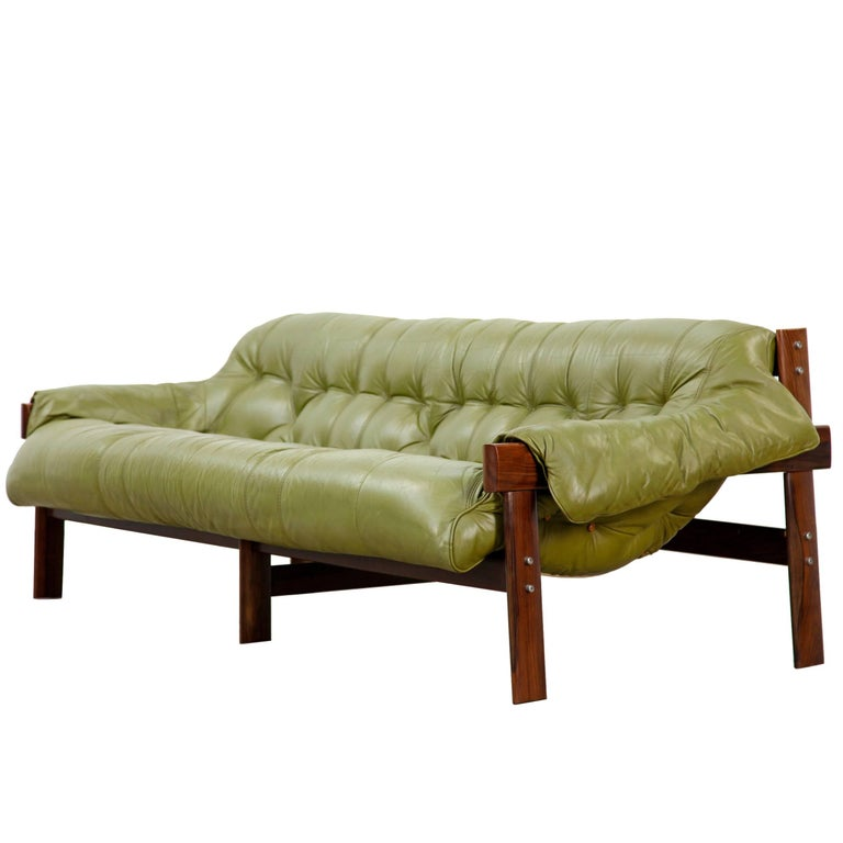 Percival Lafer Rosewood And Distressed Tufted Yellow: Midcentury Rosewood Sofa By Percival Lafer, Brazil, 1960s