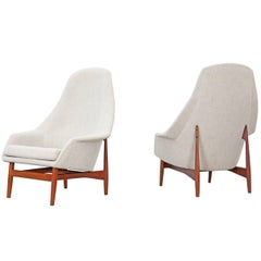 Set of Two High Back Lounge Chairs by Ib Kofod-Larsen, 1957