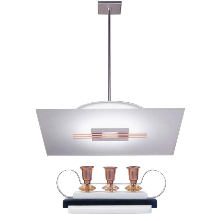 36 Square Glass And Copper Pendant Light With French Art
