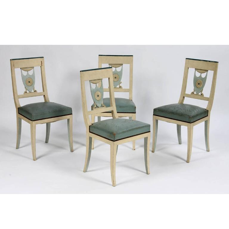 American Swedish Neoclassical Side Chairs Set of Four For Sale
