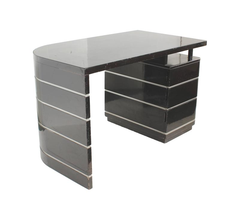 Curved Desk In Black Lacquer Silver Grooves With Drawers Attributed To Paul Frankl Classic