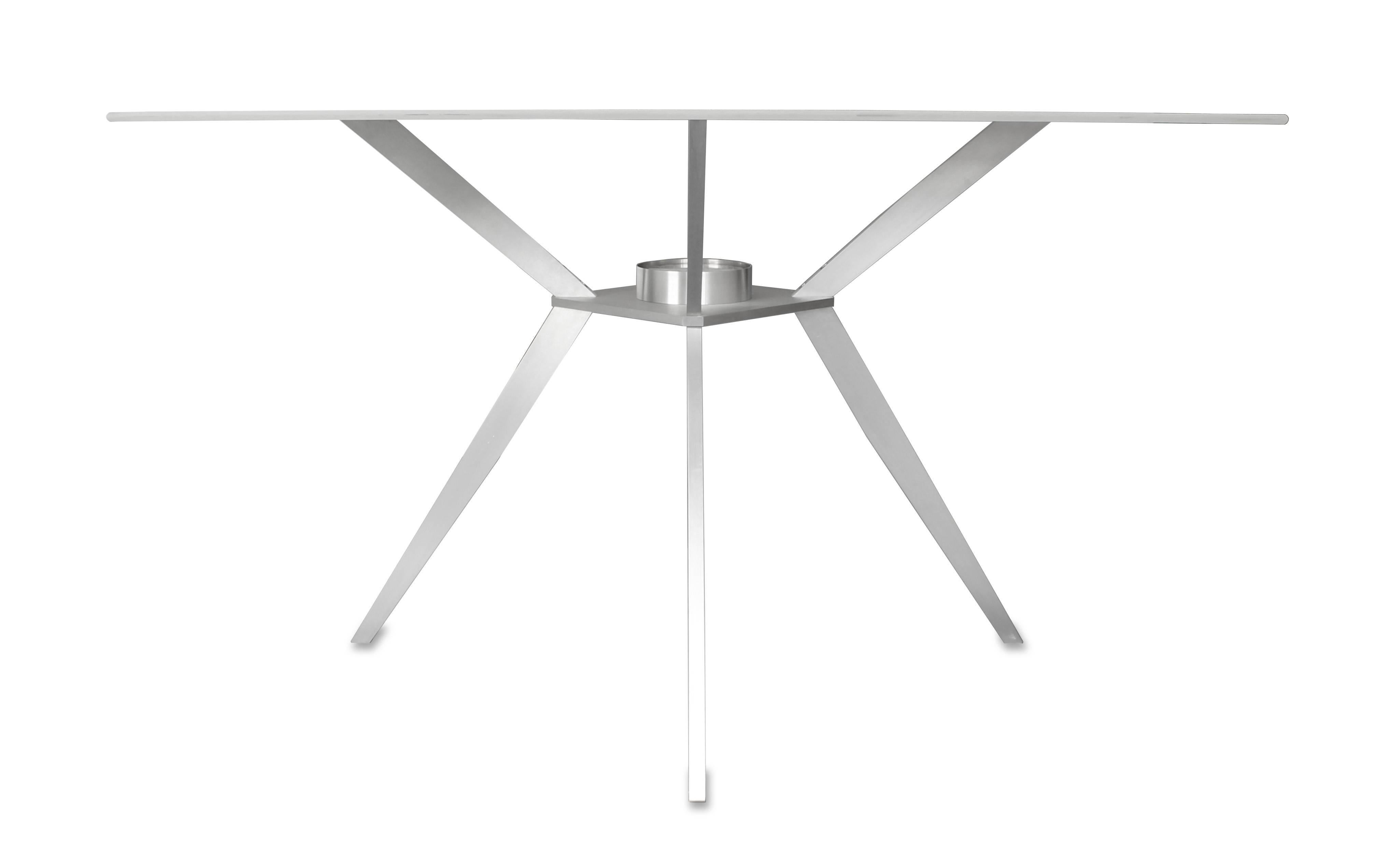 American Square Glass Table Mid Century Modern Inspired With Machined  Aluminum Legs For Sale