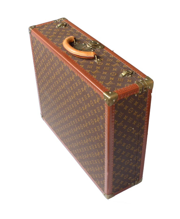 set of vintage louis vuitton suitcases  leather and brass  unmatched for sale at 1stdibs