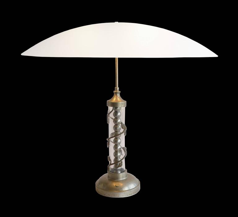 1940s Hollywood Regency Table Lamp With Oval Glass Shade 2
