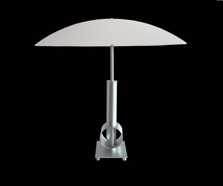 Brushed Mid Century Modern Style Table Lamp With Large Oval Glass Shade For  Sale