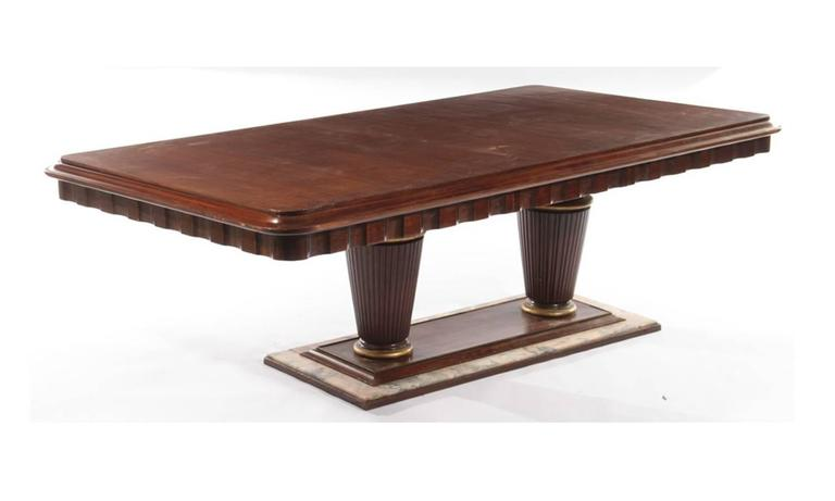 Mahogany And Marble Art Deco Dining Room Table With Skyscraper Chandelier 2