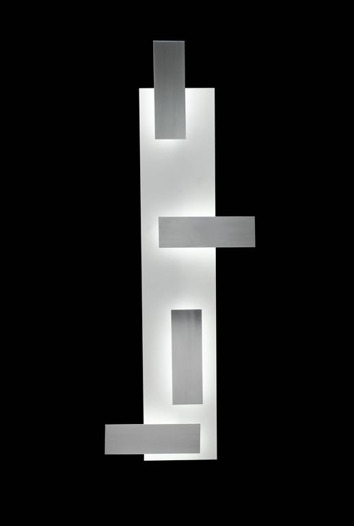 Mid-Century Modern Style Wall Art Sconce Light White Glass and Satin Aluminium 4