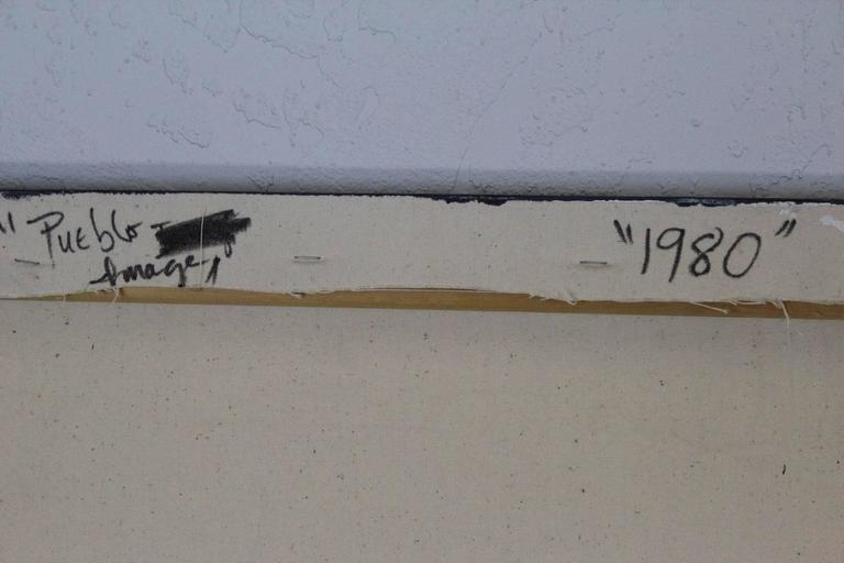 "Late 20th Century Dan Namingha ""Pueblo"" Acrylic Painting For Sale"