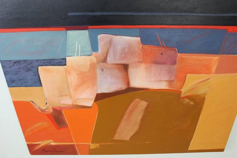 "Native American Dan Namingha ""Pueblo"" Acrylic Painting For Sale"