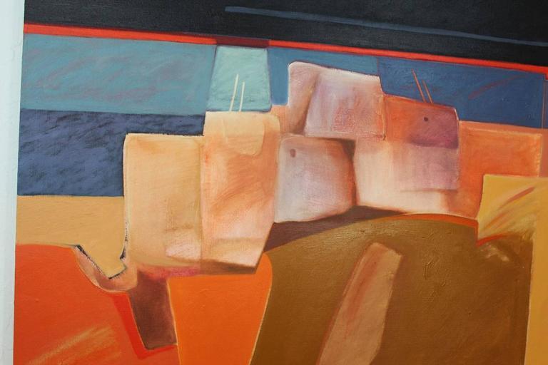 "Dan Namingha ""Pueblo"" Acrylic Painting In Excellent Condition For Sale In Phoenix, AZ"