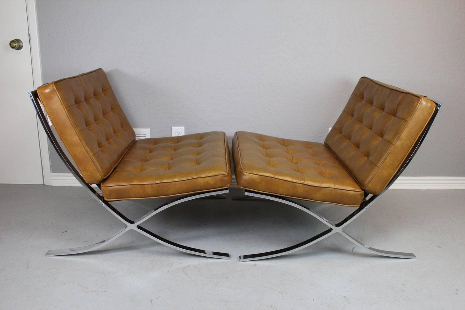 Early Barcelona Style Lounge Chairs and Ottoman For Sale at 1stdibs
