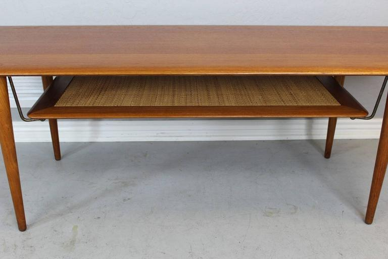 Brass Peter Hvidt Solid Teak Coffee/Cocktail Table for France & Sons For Sale