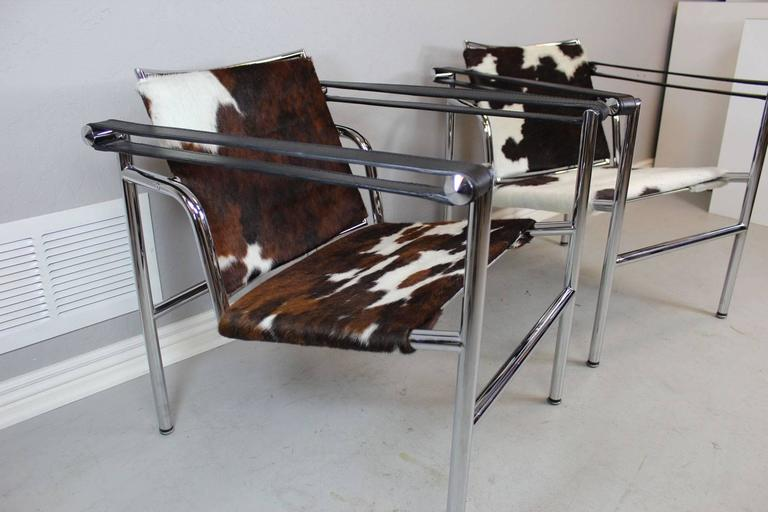 Pair Of Sleek Cowhide Sling Chairs In The Style Of Le Corbusier By Design  Within Reach