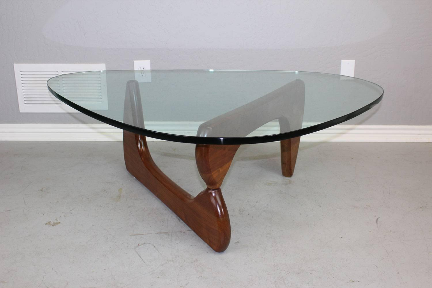 Isamu Noguchi Coffee Table With Walnut Base And Triangular Glass Top At 1stdibs: glass coffee table base