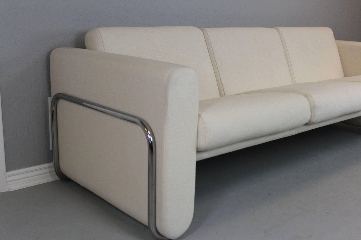 Lecorbusier style white sofa with wrap around stainless steel frame at 1stdibs Steel frame sofa