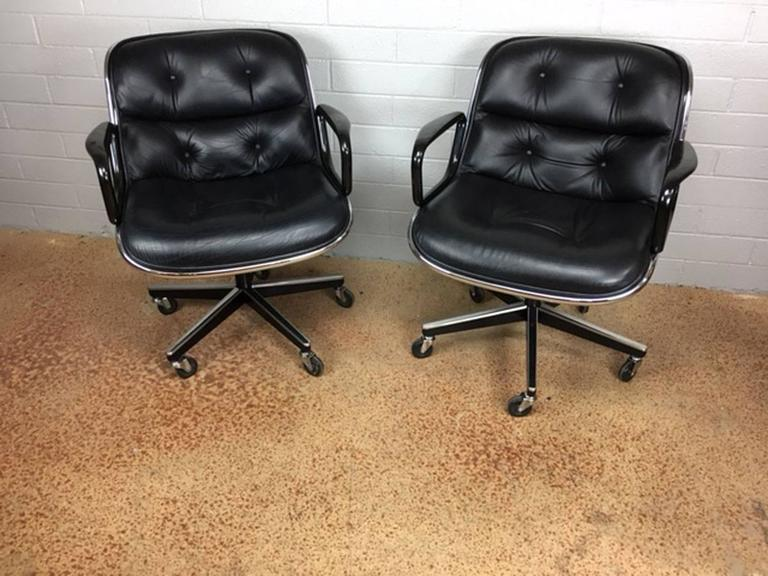 Charles Pollock Leather Executive Office Chairs for Knoll 10