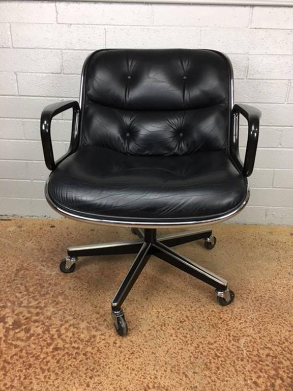 Charles Pollock Leather Executive Office Chairs for Knoll 2