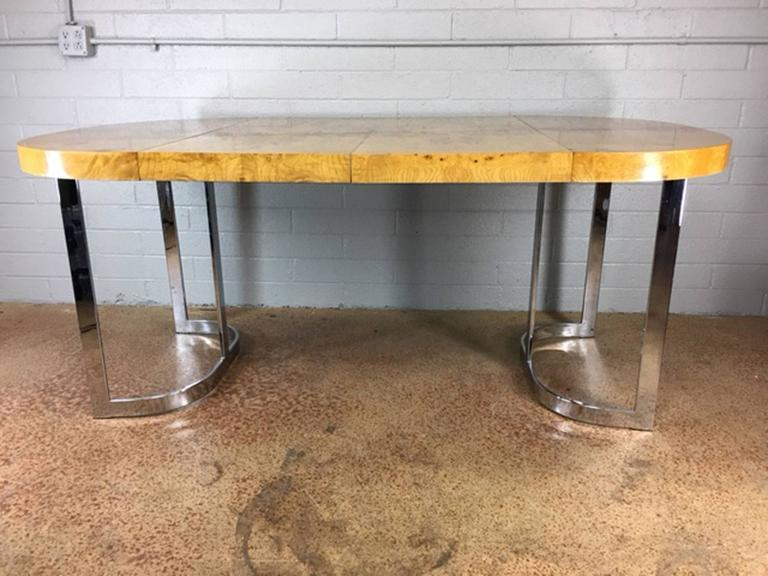Milo Baughman Burl Wood And Chrome Dining Table For Sale At Stdibs - 30 x 42 dining table
