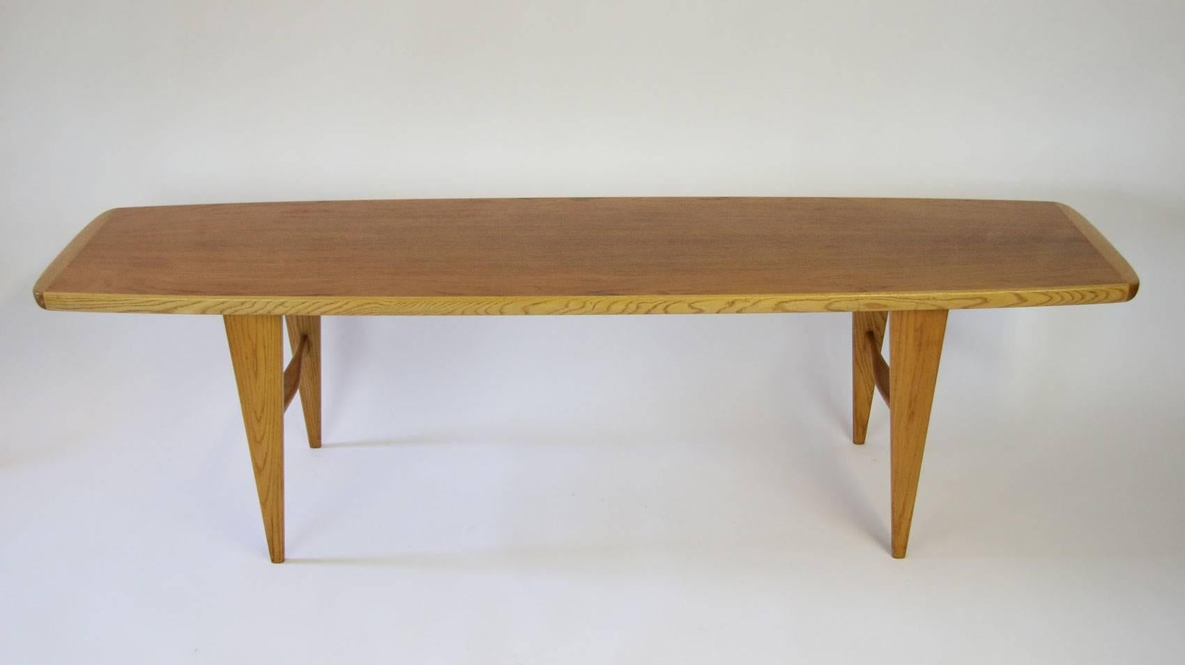 Svante Skogh Teak And Oak Surfboard Coffee Table. Manufactured By Seffle  Mobler Of Sweden.