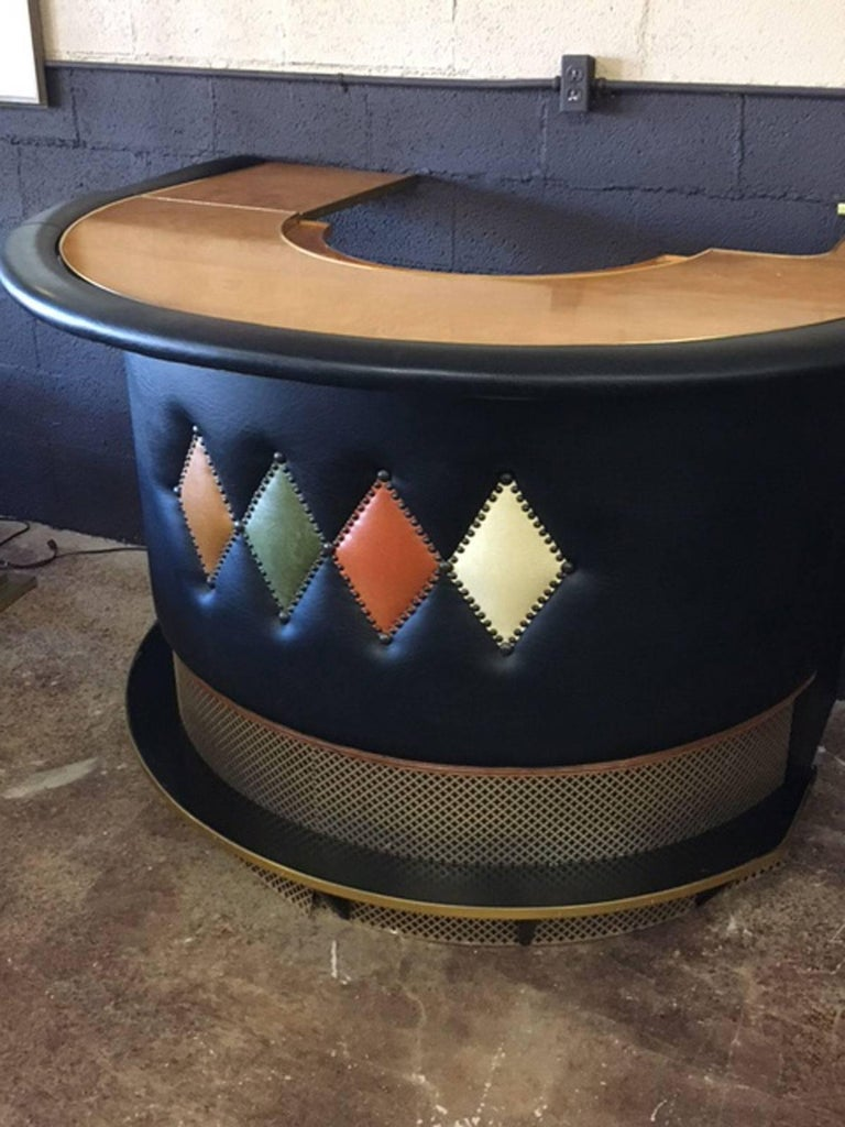 Custom-made dry bar, circa 1950s. Unique piece. Inlaid diamond pattern, stylish metal grating, working hinged left side