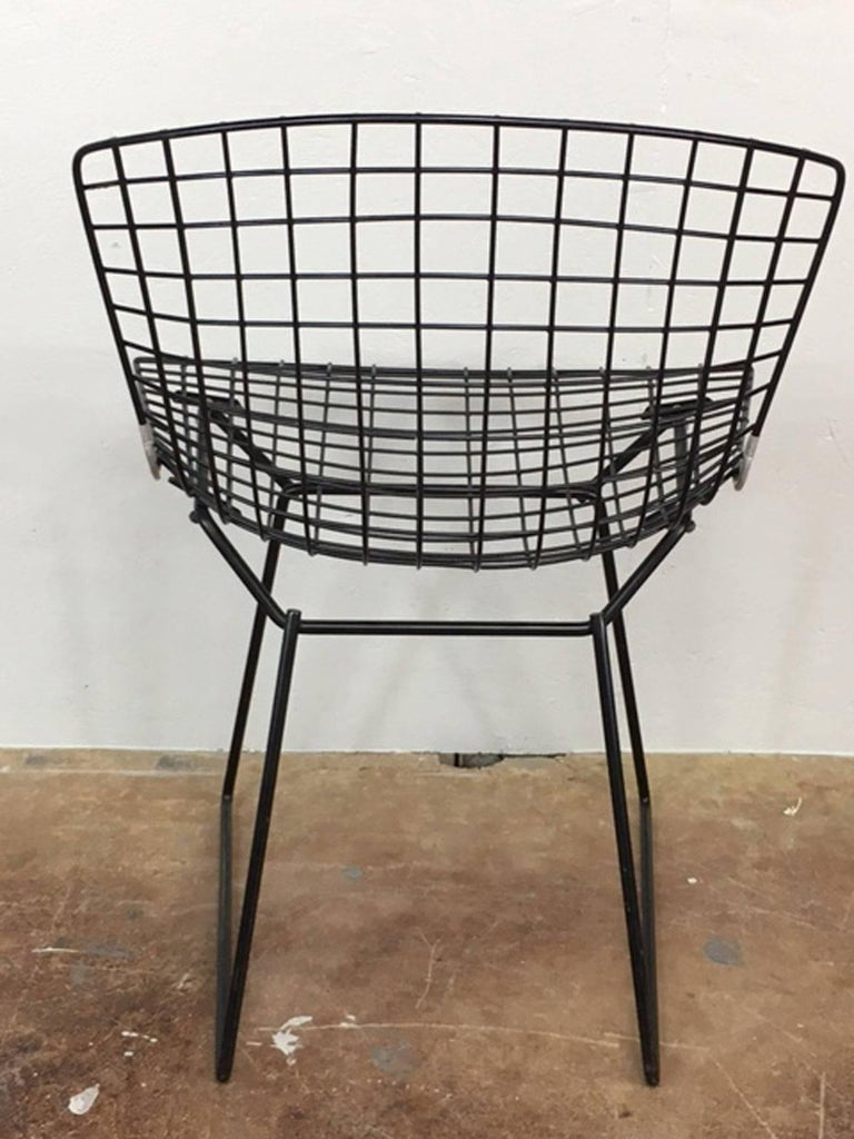 American Harry Bertoia Black Wire Side Chair for Knoll For Sale