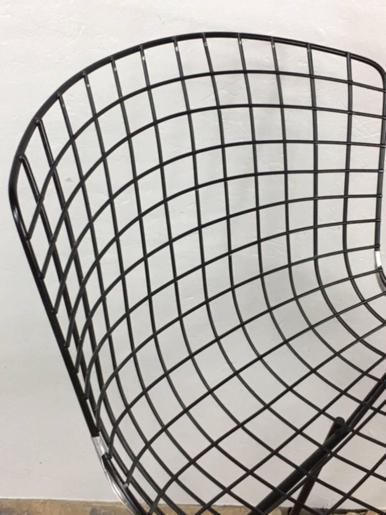 Harry Bertoia Black Wire Side Chair for Knoll For Sale 1