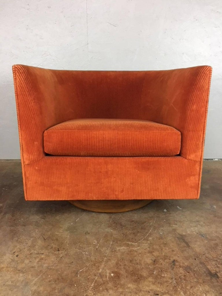 Milo Baughman Walnut Wrapped Club Chair For Sale At 1stdibs