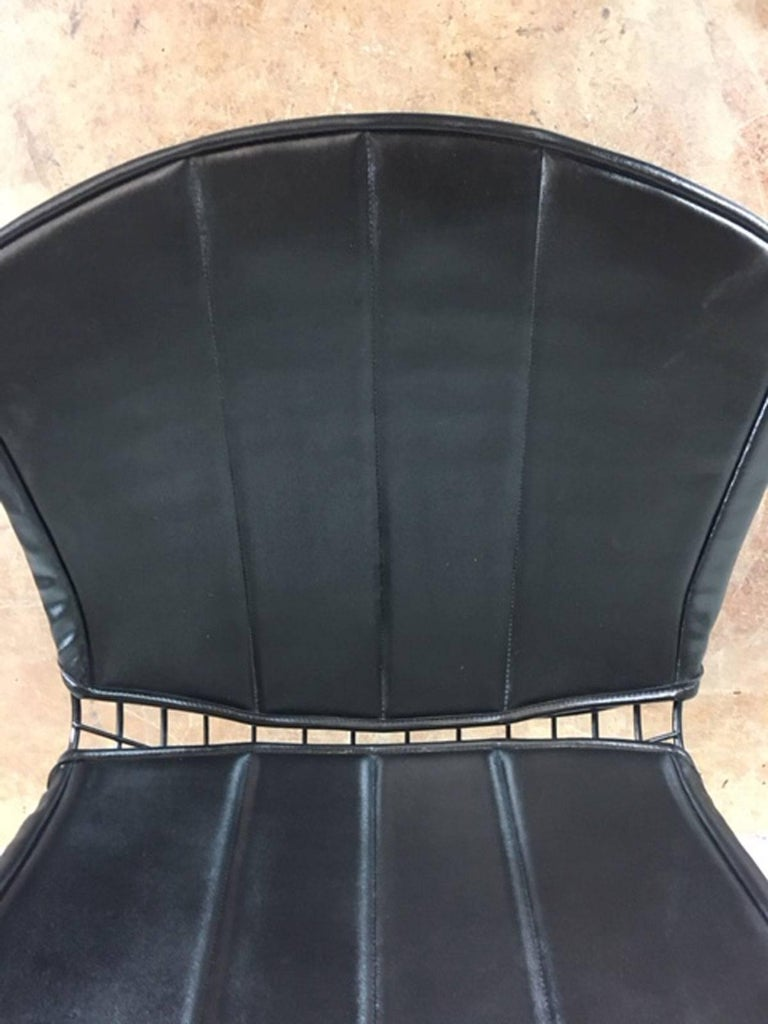Harry Bertoia Black Metal Chairs with Black Leather Pads For Sale 1