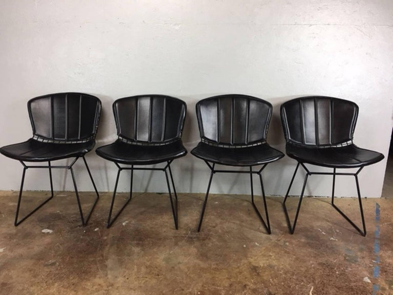 Set of four Harry Bertoia black metal chairs with black leather upper and lower pads, circa 1960s. Excellent condition. Manufactured by Knoll.
